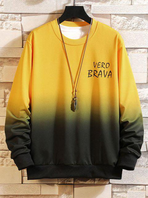 outfits Letter Ombre Print Crew Neck Sweatshirt - YELLOW XS Mobile
