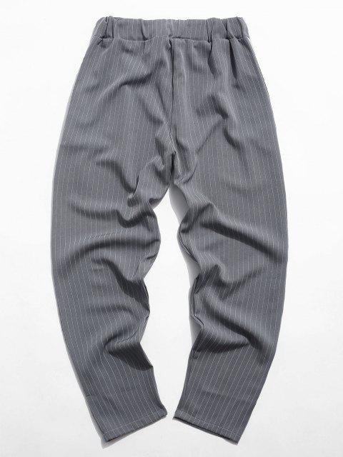 Pantalones Cintura Elástica Tela a Rayas - Gris XL Mobile