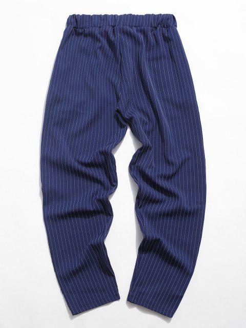 Pantalones Cintura Elástica Tela a Rayas - Azul L Mobile