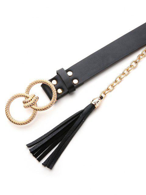best Twist Buckle Fringe Leather Belt - BLACK  Mobile