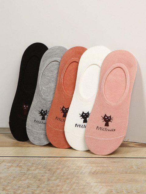 women 5Pairs Cat Cotton Silicone Invisible Socks Set - MULTI-A  Mobile