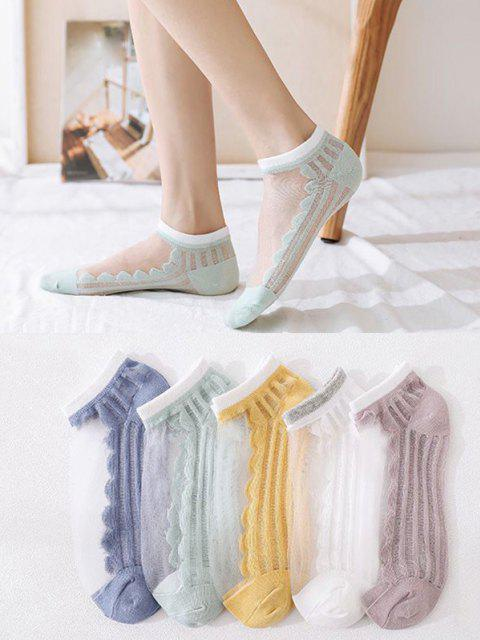 5Pairs Striped Cotton Mesh Socks Set - متعددة-A  Mobile