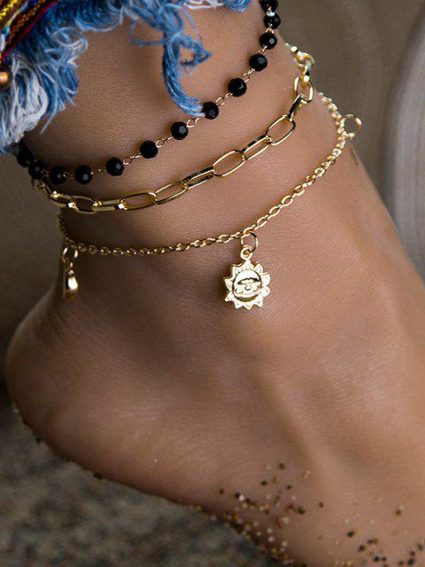 buy 3Pcs Beads Sun Moon Anklets Set - GOLDEN  Mobile