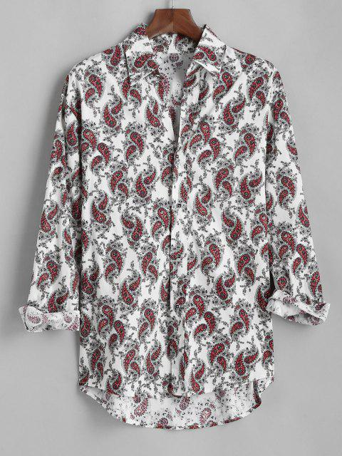new Ditsy Paisley Print Button Up High Low Shirt - WHITE M Mobile