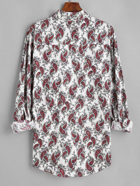Camisa Manga Larga Asimétrico Estampado Cachemir - Blanco L Mobile
