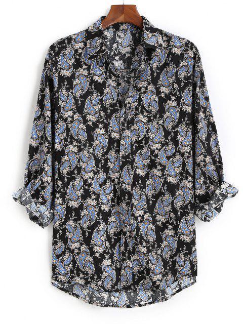 Camisa Manga Larga Asimétrico Estampado Cachemir - Negro L Mobile
