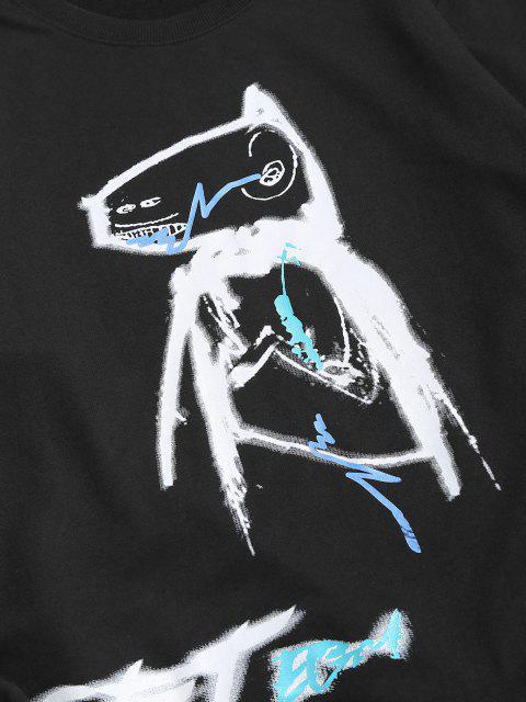 Sudadera Casual Diseño Impreso Dibujo Animado Animal - Negro XS Mobile