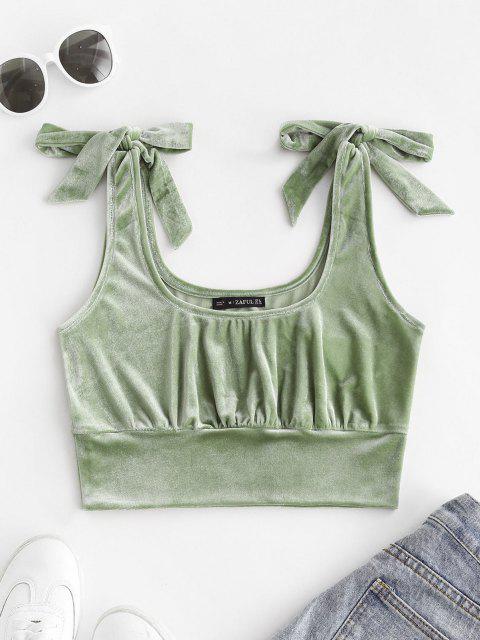 sale ZAFUL Tie Shoulder Velvet Cropped Tank Top - LIGHT GREEN L Mobile