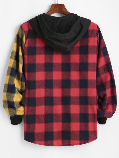 new Contrast Plaid Pocket Patchwork Hooded Shirt - RED 2XL Mobile