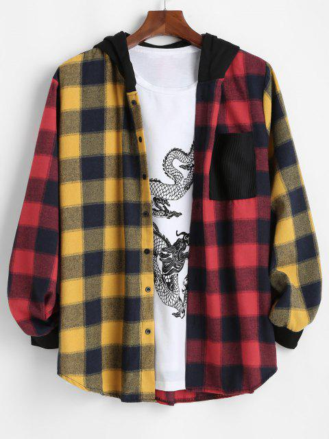 hot Contrast Plaid Pocket Patchwork Hooded Shirt - RED 3XL Mobile