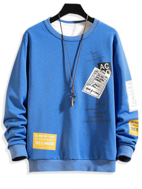 sale Crew Neck Letter Graphic Sweatshirt - BLUE XL Mobile