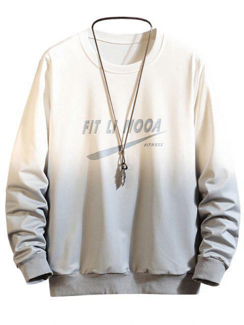 Sweat-shirt Ombré à Lettre Imprimée - Gris L Mobile