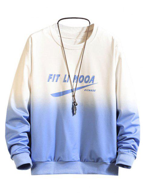 new Letter Graphic Ombre Print Sweatshirt - BLUE XL Mobile