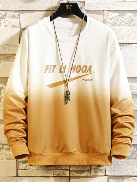 shop Letter Graphic Ombre Print Sweatshirt - YELLOW L Mobile