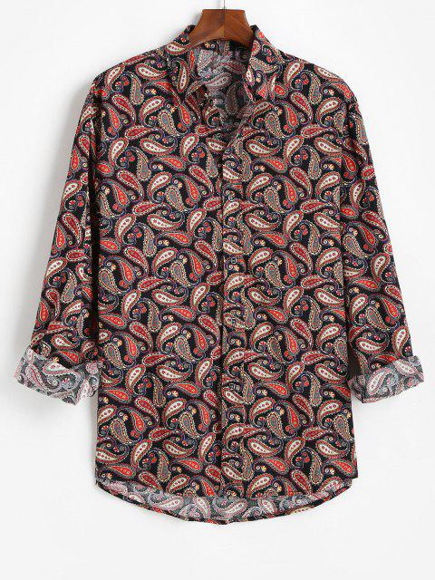 latest Allover Paisley Print Vintage Long Sleeve Shirt - BLACK XL Mobile