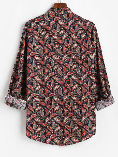総模様ペイズリー印刷ヴィンテージロングスリーブシャツ - ブラック 3XL Mobile