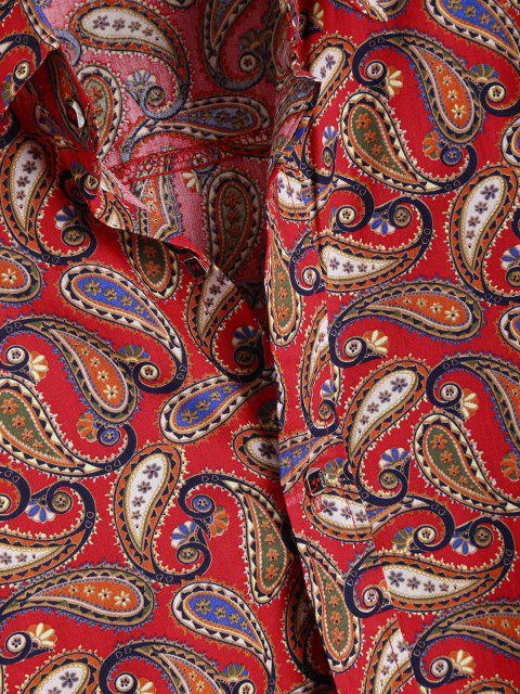 sale Allover Paisley Print Vintage Long Sleeve Shirt - RED 2XL Mobile