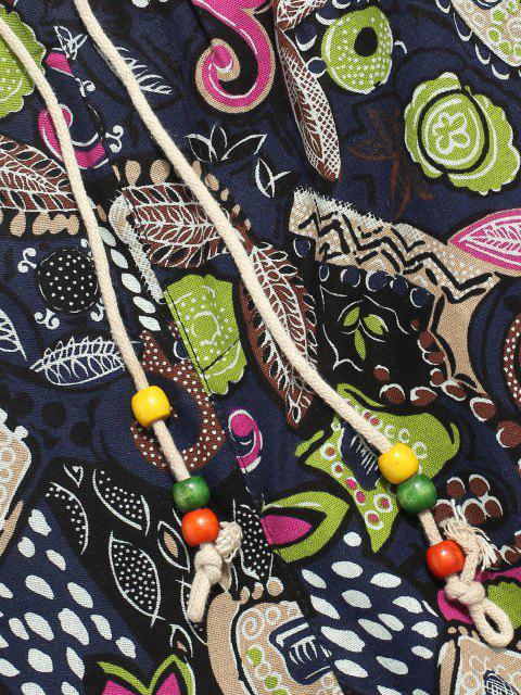 Pantalones Lápiz Ajustados Diseño Impreso Floral Étnico - Azul profundo 2XL Mobile