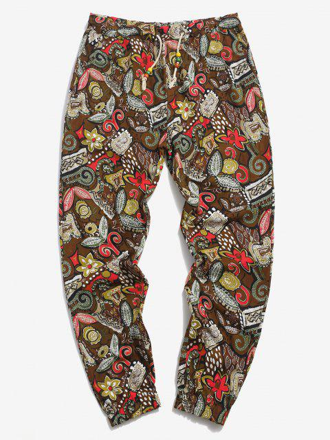 best Allover Floral Print Ethnic Linen Pencil Pants - COFFEE 2XL Mobile
