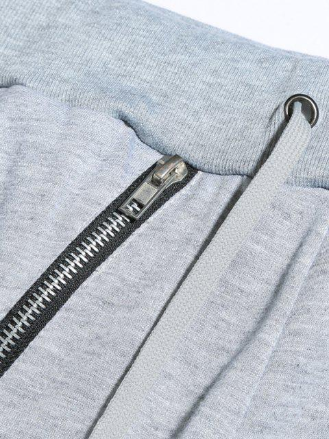 fashion Zipper Detail Tapered Casual Pants - LIGHT GRAY S Mobile