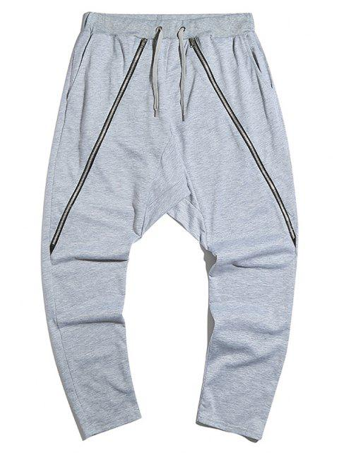 Pantalones Casuales con Detalle de Cremallera - Gris Claro M Mobile