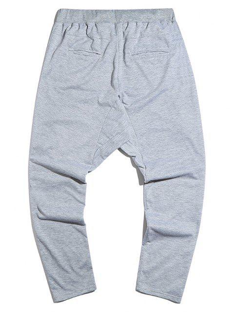 unique Zipper Detail Tapered Casual Pants - LIGHT GRAY XL Mobile