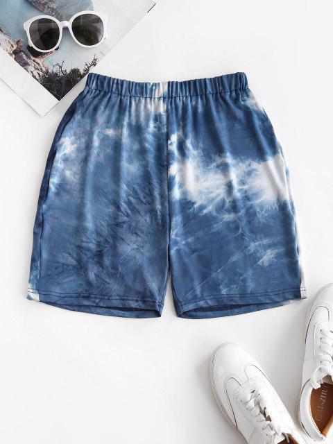 buy Tie Dye High Waisted Short Leggings - BLUE L Mobile