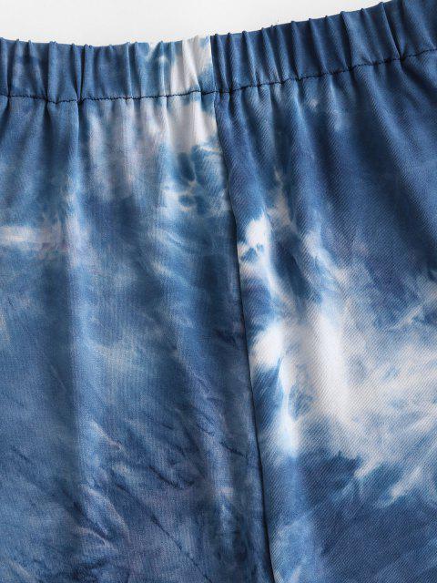Leggings Cortos de Cintura Alta de Teñido - Azul S Mobile