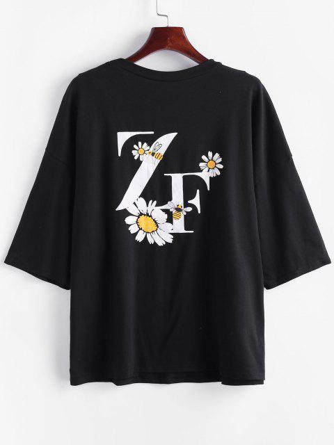 Übergroße Gänseblümchen Grafik T-Shirt - Schwarz M Mobile