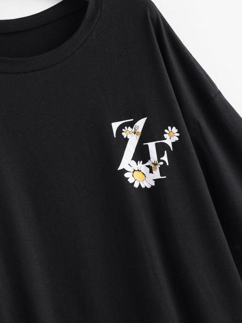 T-Shirt Graphique Marguerite Surdimensionné - Noir S Mobile