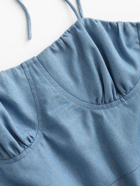 trendy ZAFUL Bustier Tie Shoulder Slit Chambray Dress - LIGHT BLUE L Mobile