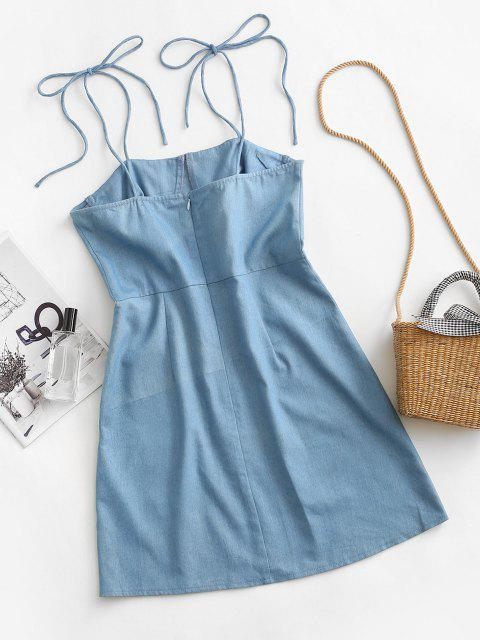 ZAFUL Bustier Tie Shoulder Slit Chambray Dress - أزرق فاتح L Mobile