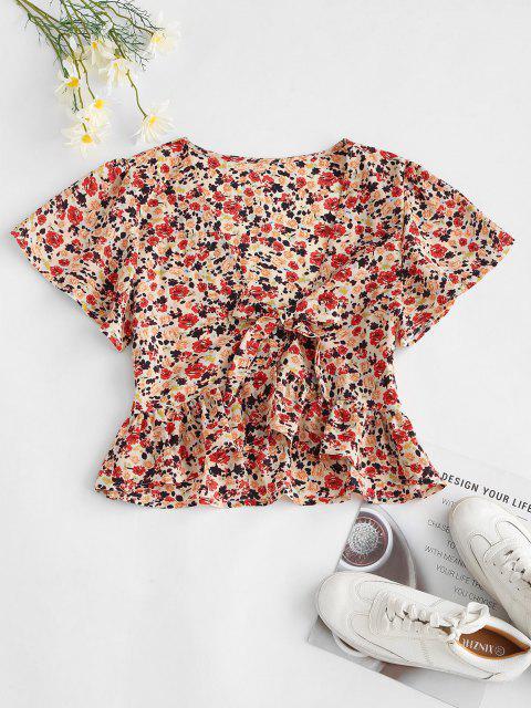 shop Peplum Hem Floral Tie Front Blouse - RED M Mobile