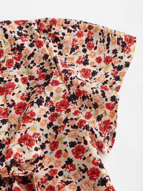 women's Peplum Hem Floral Tie Front Blouse - RED L Mobile