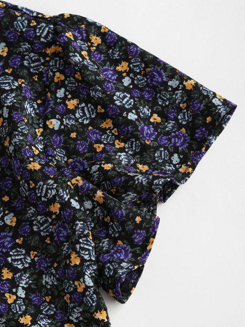 ladies Peplum Hem Floral Tie Front Blouse - BLACK S Mobile