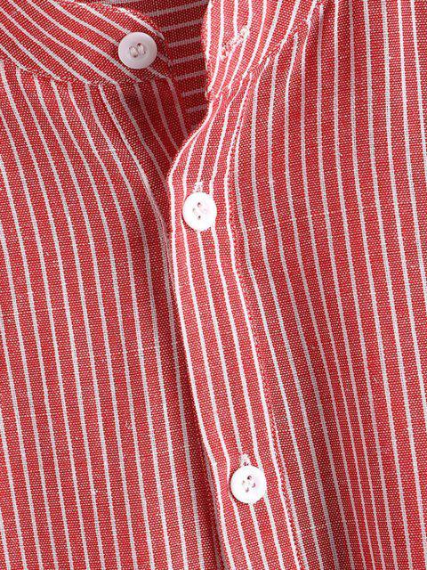 online Half Button Striped Shirt - LIGHT PINK 2XL Mobile
