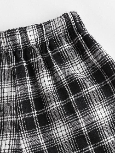 chic Plaid Pocket Pull-on Shorts - BLACK M Mobile