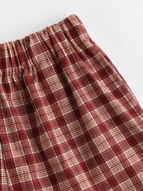 unique Plaid Pocket Pull-on Shorts - RED S Mobile