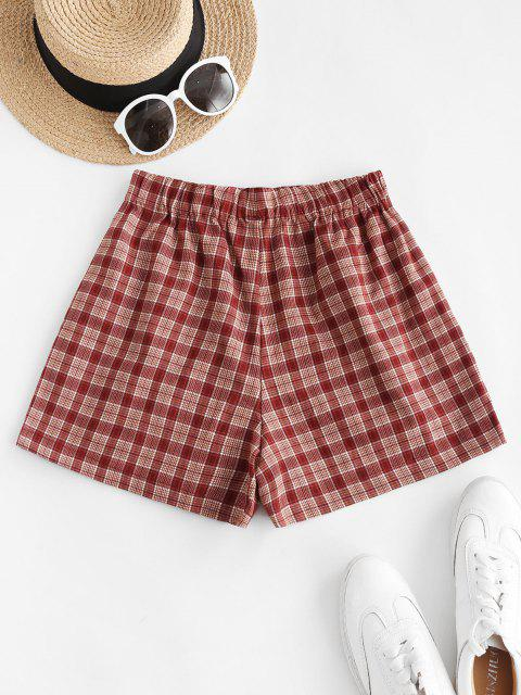 sale Plaid Pocket Pull-on Shorts - RED M Mobile