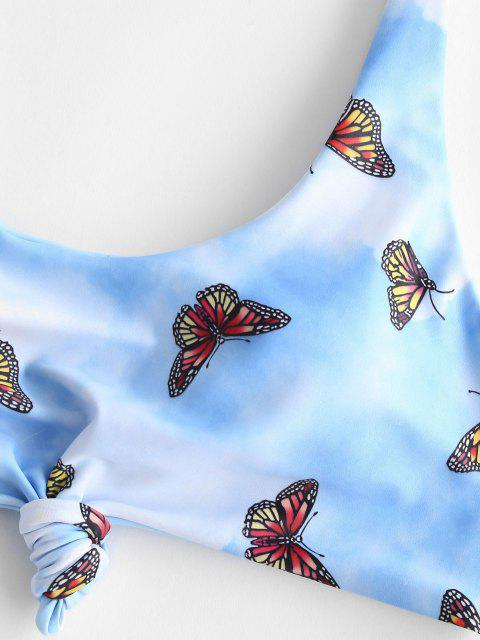 chic ZAFUL Butterfly Tie Dye Knot Bikini Swimwear - MULTI S Mobile