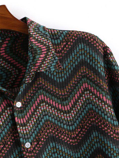 unique Tribal Zigzag Print Button Down Shirt - DEEP GREEN L Mobile