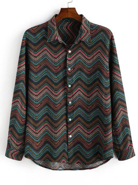 Tribal Zigzag Print Button Down Shirt - ديب غرين L Mobile