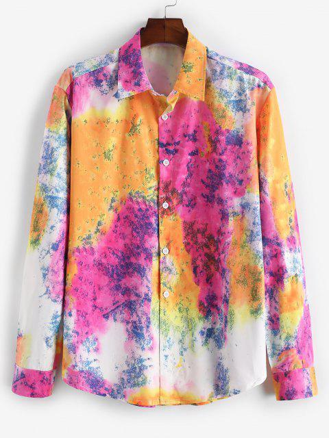 womens Tie Dye Button Up Lounge Shirt - MULTI S Mobile