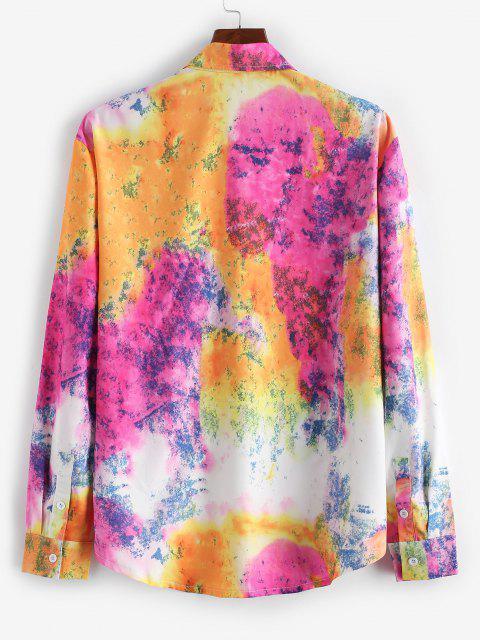 lady Tie Dye Button Up Lounge Shirt - MULTI XL Mobile