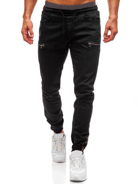 best Zipper Embellishment Elastic Waist Jeans - BLACK M Mobile