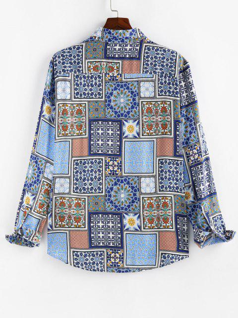 new ZAFUL Pattern Block Casual Dip Hem Shirt - JEANS BLUE M Mobile