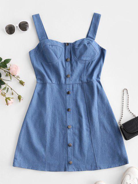 lady ZAFUL Mock Button Bustier Denim Dress - LIGHT BLUE L Mobile