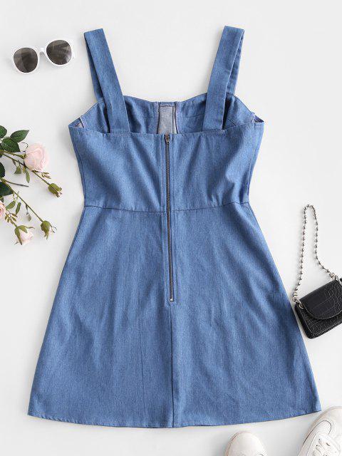ZAFUL Falschen Knöpfe Bustier Denim Kleid - Hellblau L Mobile