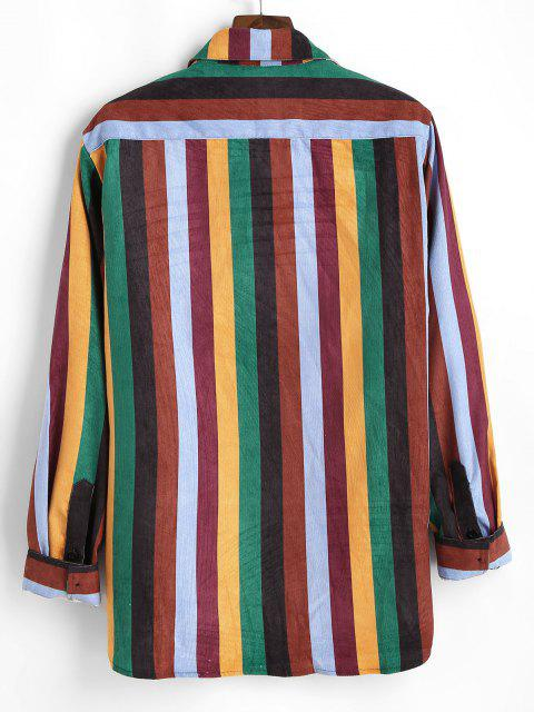 カラフルな縦縞ポケットコーデュロイシャツ - マルチ 2XL Mobile