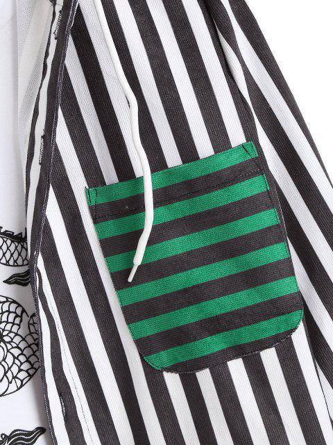 Colorblockストライプフード付き巾着コーデュロイシャツ - 深緑 XL Mobile
